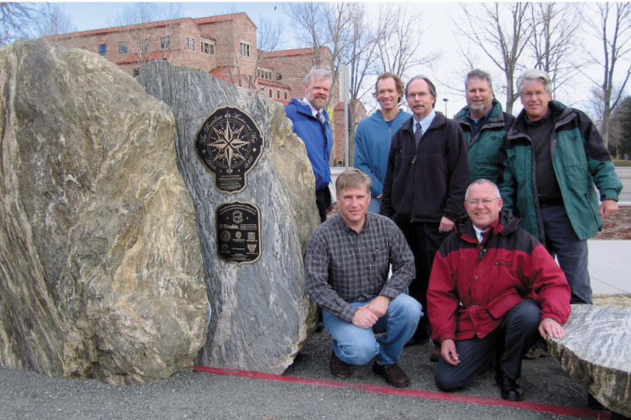 Baseline Rd 40th parallel monument ceremony (Drexel Barrell Principal Bill Wright, PLS standing in center)